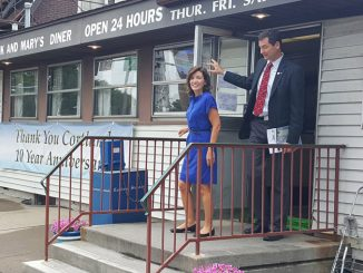 Lt. Gov. Kathleen Hochul and Mayor Brian Tobin leave Frank and Mary's Diner on Port Watson Street Thursday morning. Hochul was in town to voice support for the summer lunch program run locally by Cortland Junior-Senior High School and to see what the city has done to promote small business and economic development.