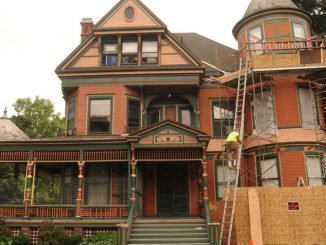 The historic home at 39 Tompkins St. is one of many student houses undergoing renovations. The building, built in 1888, has been owned by Nancy Medsker and Thomas Seaney, both of Ithaca, for about 13 years. Medsker said the property has been used as off-campus housing for several years.