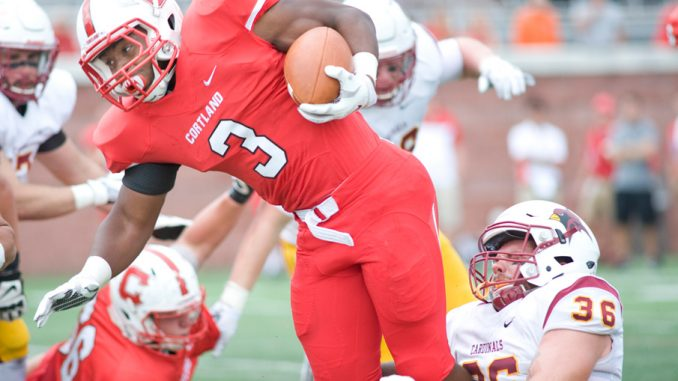 SUNY Cortland tight end Josh Riley dodges St. John Fisher defenders on a pass play in the second quarter Saturday.